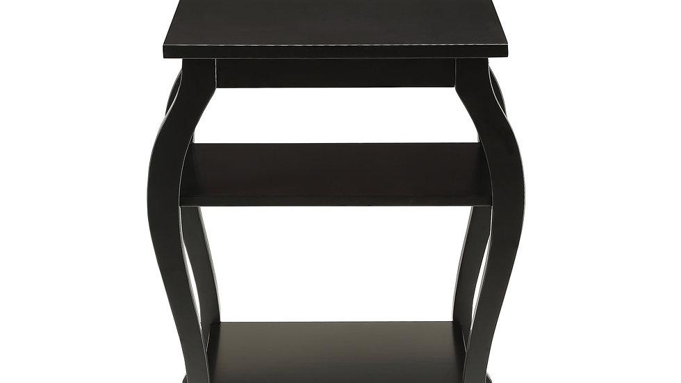 "Black Solid Wood Leg End Table - 20"" X 18"" X 23"""