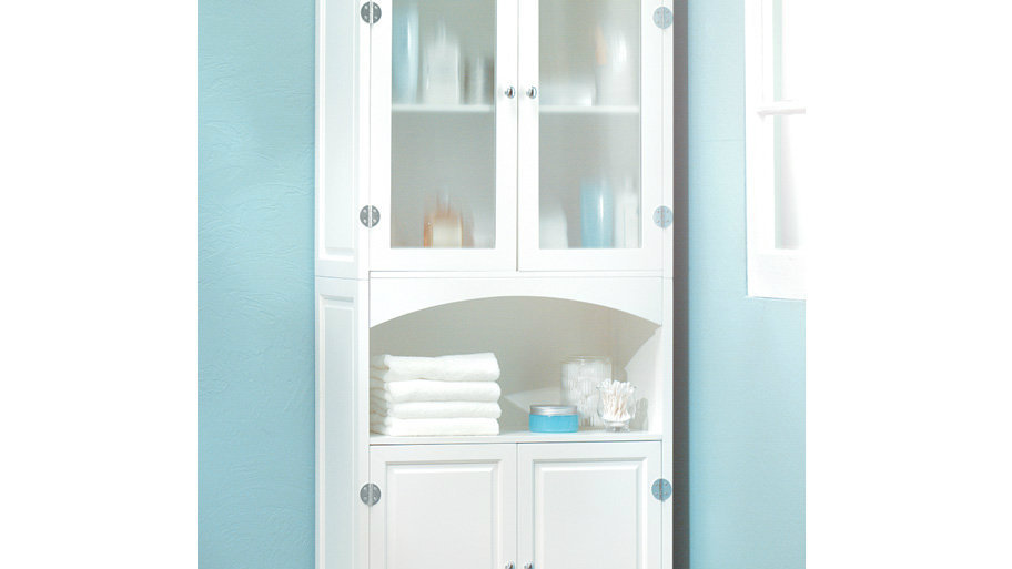 Veiled Glass Tall Linen Cabinet