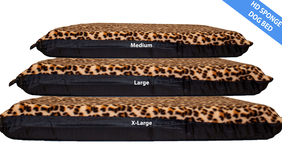 Leopard Print DoDog Bed 10cm HD Foam Mattress Removable Fleece Cover