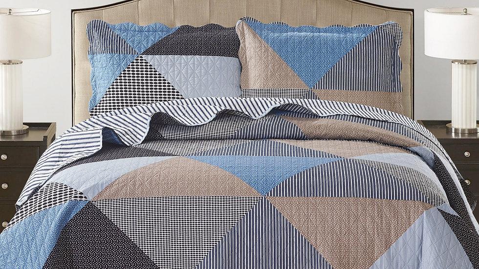 Suzy 3 Piece Quilt Set - Grey
