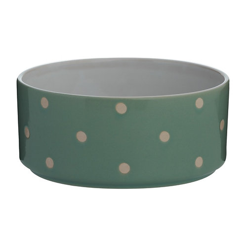 Cole and Mason Polka dot Dog Feeding Bowls in sage