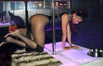 woman wearing an anal plug kitty tail crawling around a stripper pole
