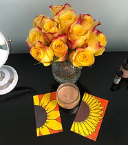 sensual sacred space with yellow roses and sunflower art created by yemoja oshun