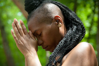 woman showing reverence for nature
