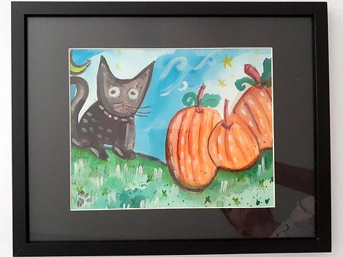 """""""Black Cat"""" Watercolor on Watercolor Paper"""