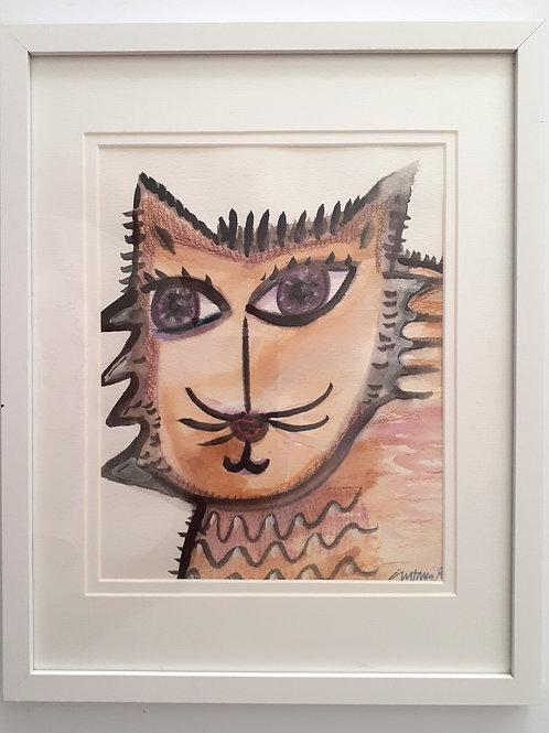 """Intelligent Cat"" Watercolor on Watercolor Paper"