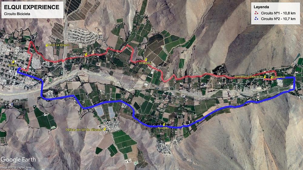 Mapa Bicicleta Valle del Elqui