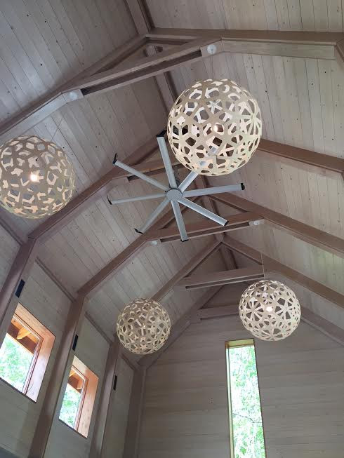 Heron Hall - view of the tall, majestic wooden ceilings
