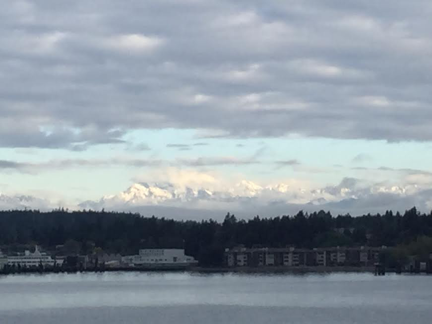 View of the Olympic Mountains on an early morning ferry ride to Bainbridge Island