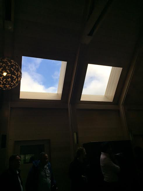 Skylights bringing in natural light to the inside spaces. Natural light is proven to improve health, well-being and productivity of persons.