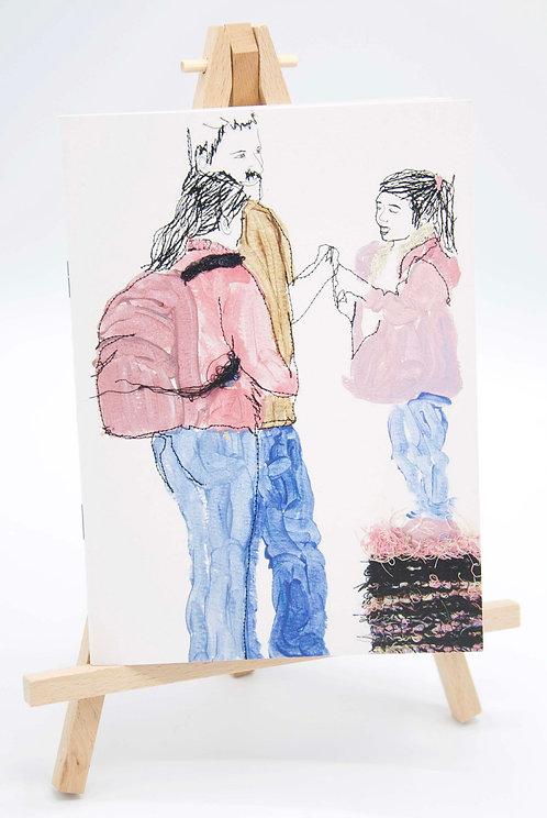 Carnet illustré en papier recyclé En famille