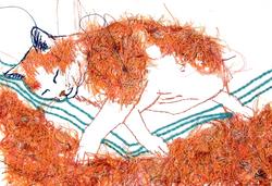 Tableau brodé Réna écoconception le chat qui rêve III Besançon