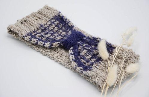 Bandeau réversible chataigne et bleu nuit tricot artisanal