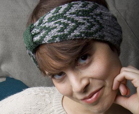 Bandeau réversible jacquard vert sapin et gris tricot artisanal