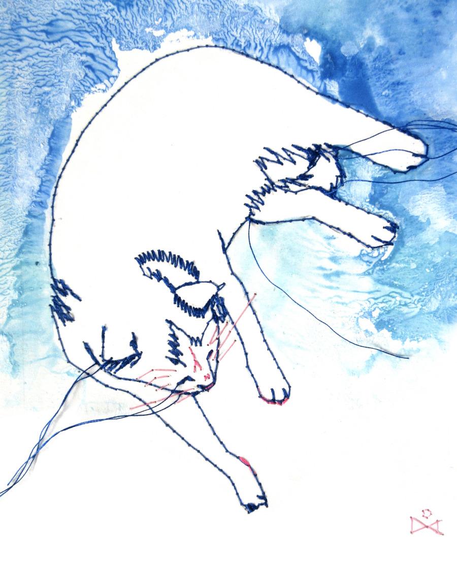 Tableau brodé Réna écoconception le chat qui rêve II Besançon