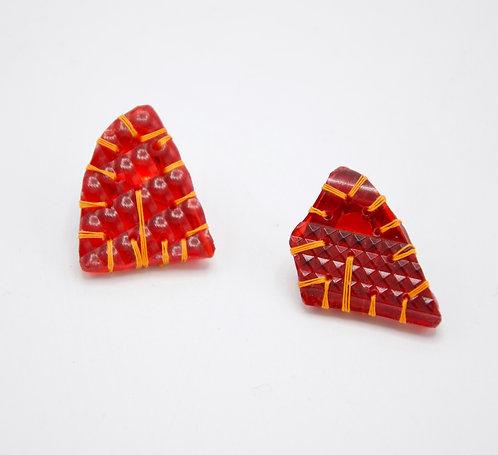 Boucles d'oreilles puces Silex rouges phare et argent 925