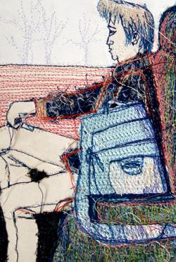 Tableau brodé textile RÉNA écoconception Besançon