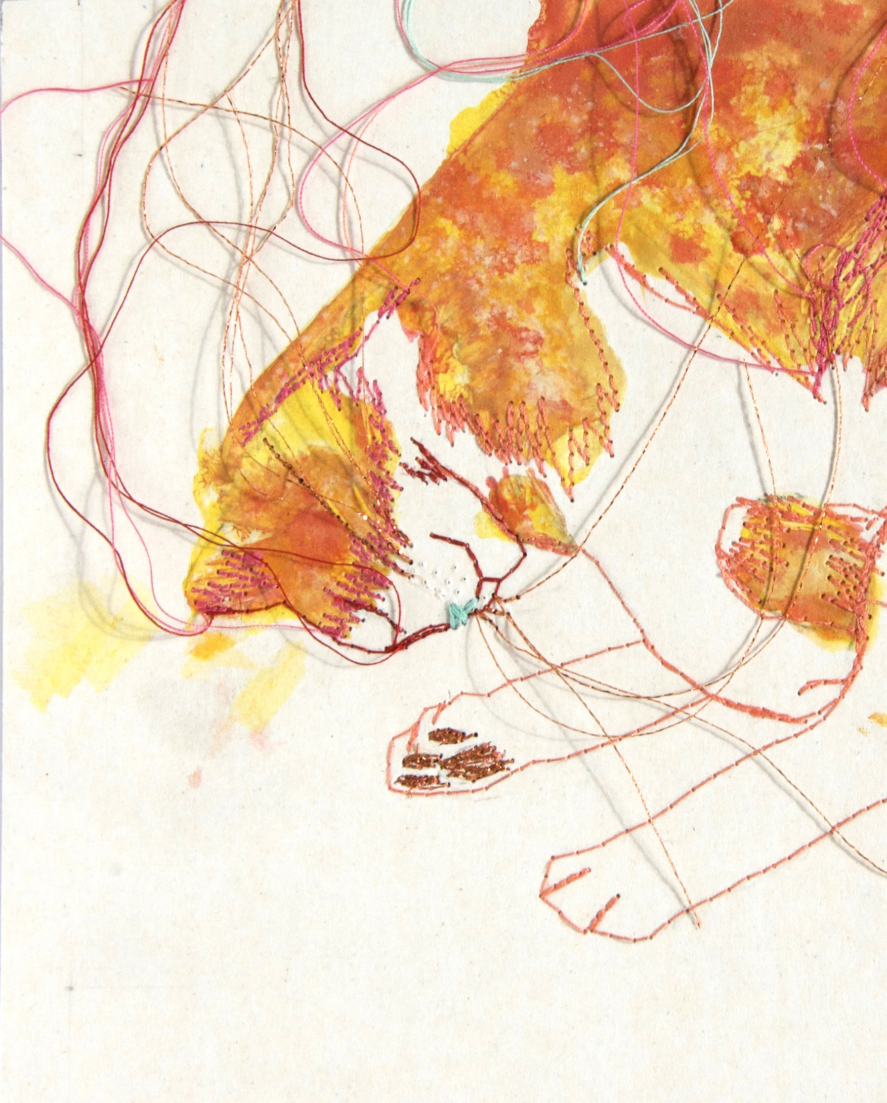 Tableau brodé Réna écoconception le chat qui rêve IV Besançon