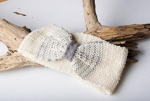 Bandeau réversible écru et gris tricot artisanal