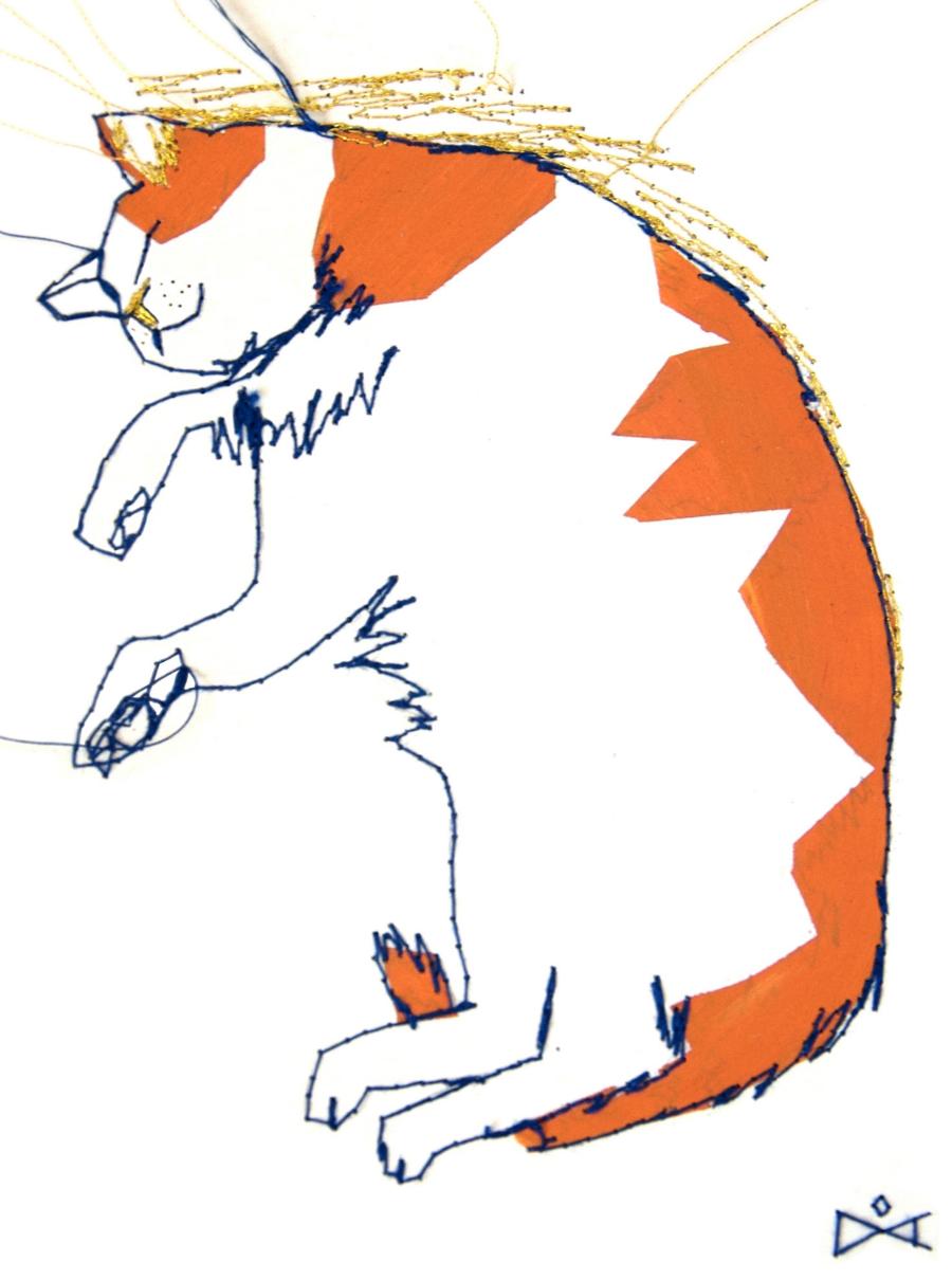 Tableau brodé Réna écoconception le chat qui rêve Besançon