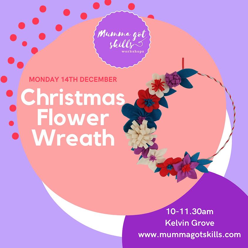 Christmas Felt Flower Wreath