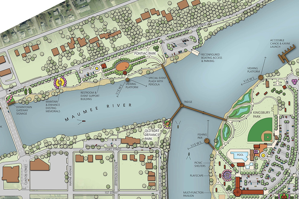 Rendering of part of the Defiance Riverfront Master Plan.