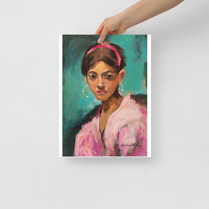 Young Girl in Pink Print