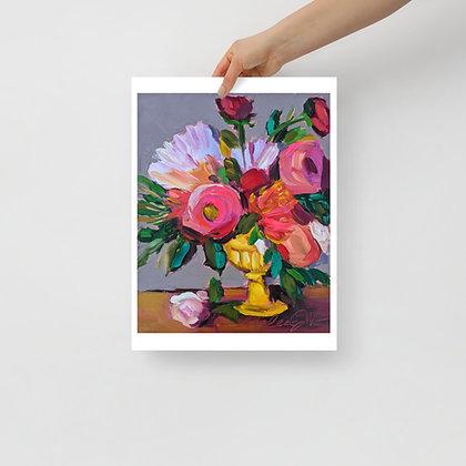 Flowers In Yellow Vase Print