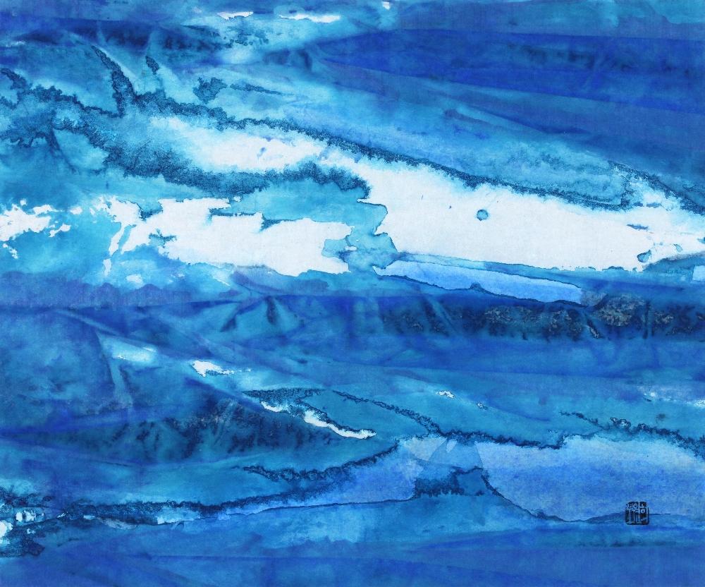 Blue Fantasia 10-Nature, 38X45.5cm, Mixed Media on Hanji, 2014