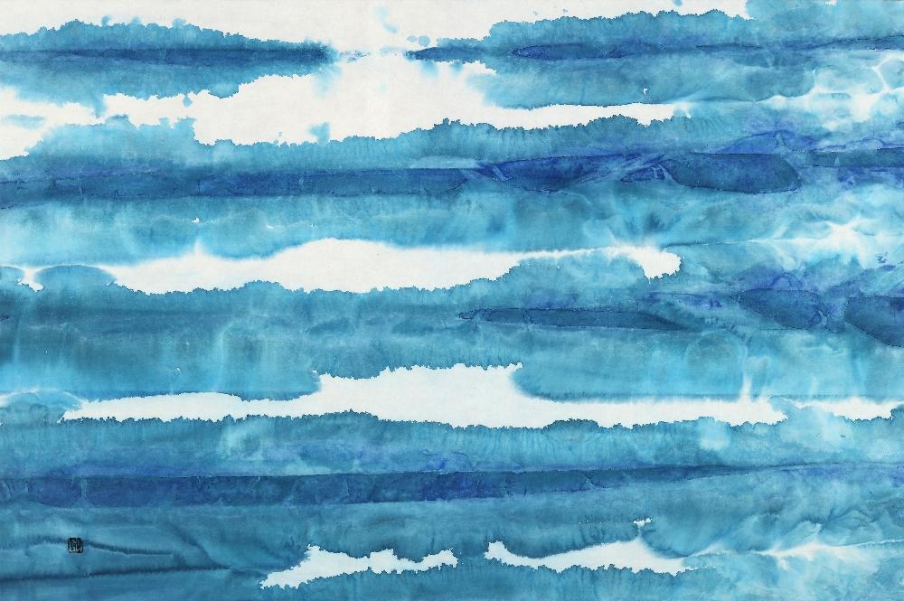 Blue Fantasia 70-Sea, 60.6X90.9cm,  Mixed Media on hanji, 2015
