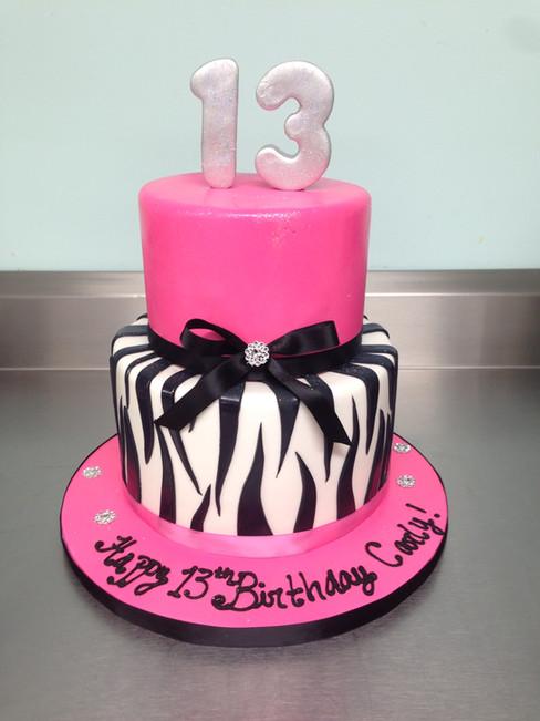 Pink Zebra Print Birthday Cake