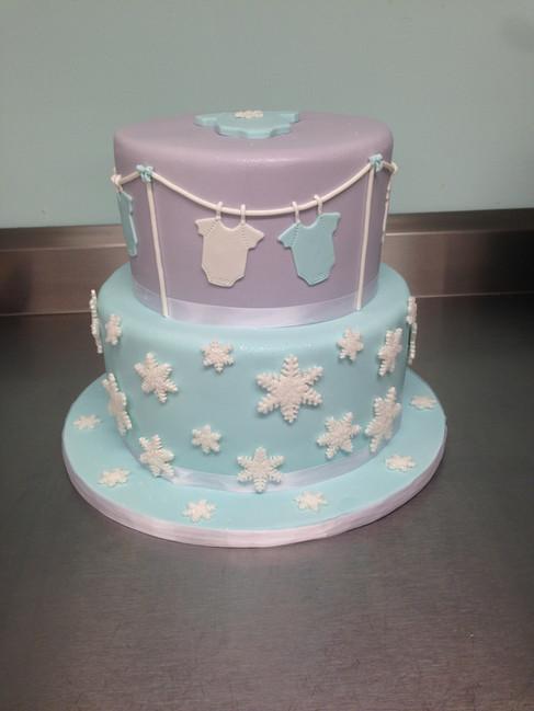 Winter Onesie Baby Shower Cake