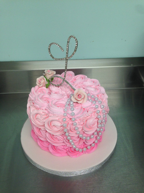 Pink Ombre Rosettes Pearl Birthday Cake
