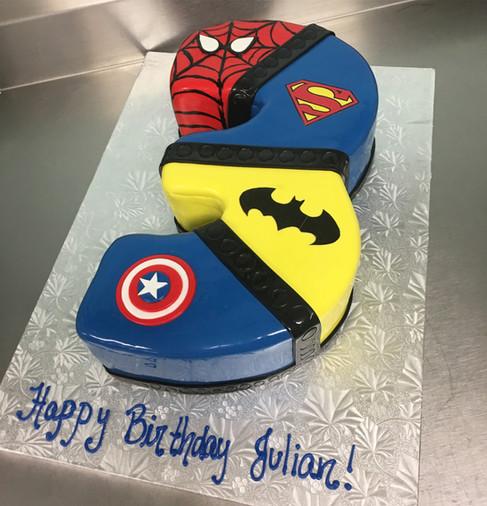 Super Hero Themed Number Brithday Cake