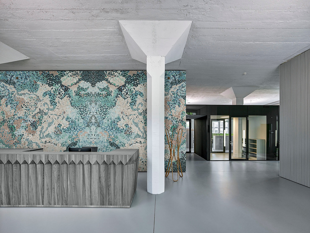 Lobby mosaic feature wall