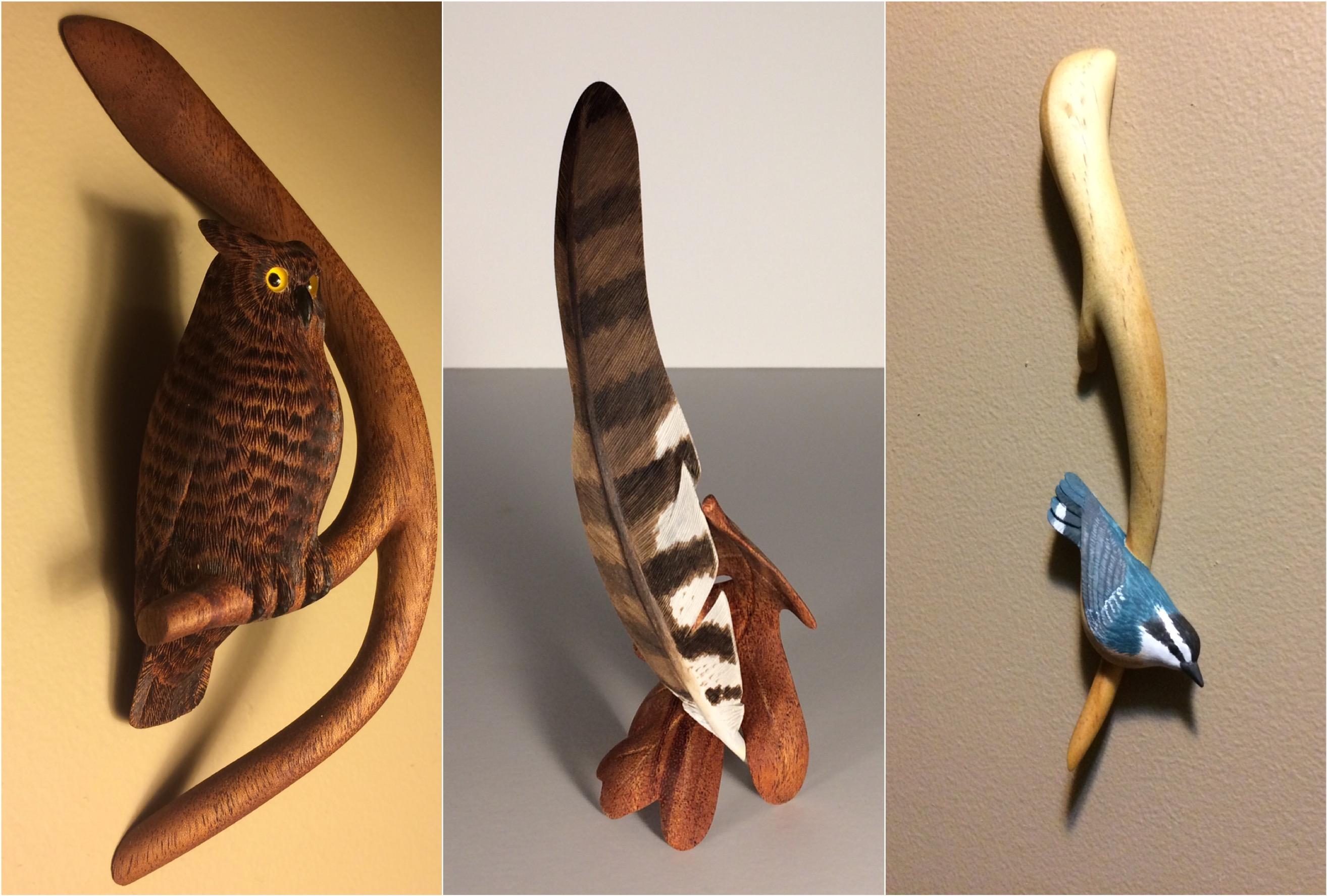 Mahogany Owl & Nuthatch (sold)