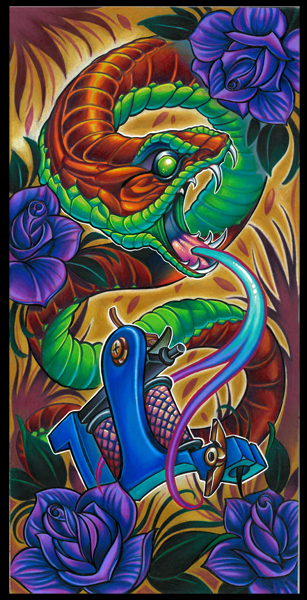 snake with blue roses