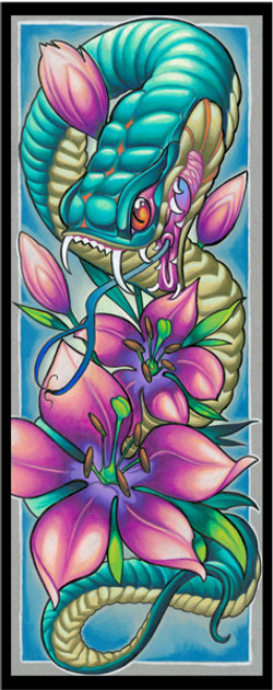 new snake and flowers