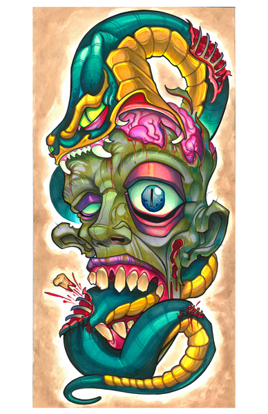 zombie with snake eating brains
