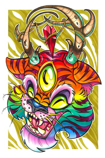 Rainbow tiger deer