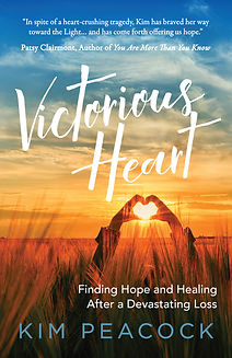 Victorious Heart book cover, sunset, hand hearts, tall grass, ocean, author name, kim peacock