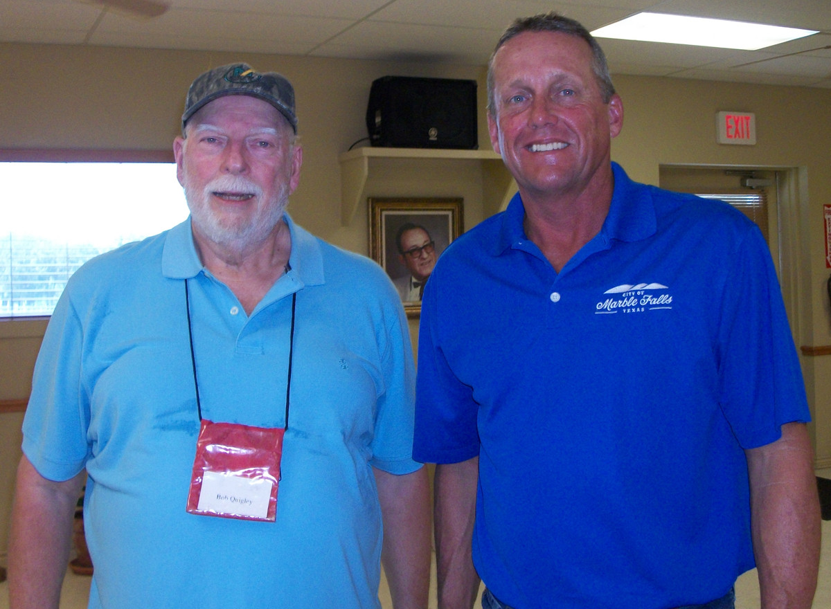 Bob Quigley and Mayor John Packer of Marble Falls at the center's 31st anniversary