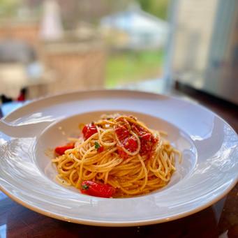 Spaghettini tomates et écorces d'orange
