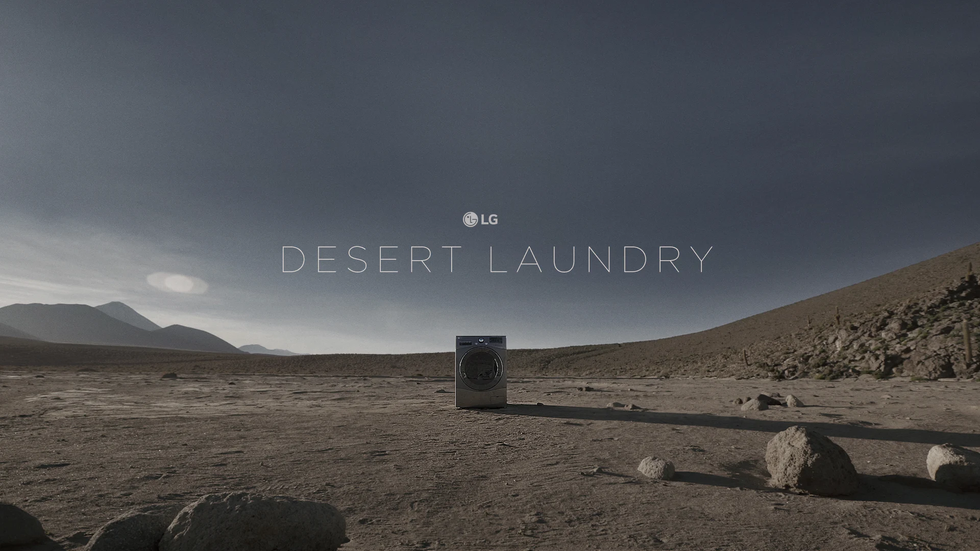 """LG washes a laundry load with cactus water to highlight its low H2O usage"" CREATIVITY"