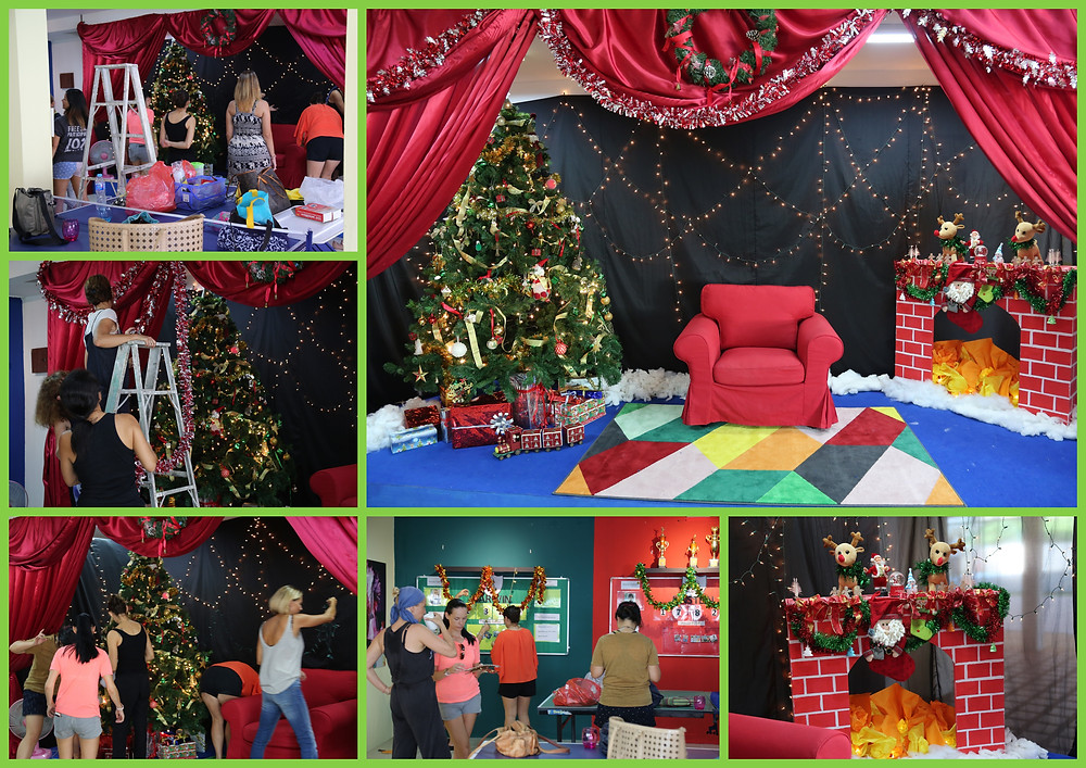 Parent Helpers setting up Santa's Grotto at the International School of Samui