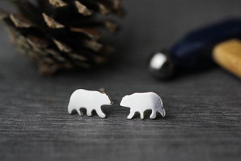 Sterling Silver Bear Stud Earrings