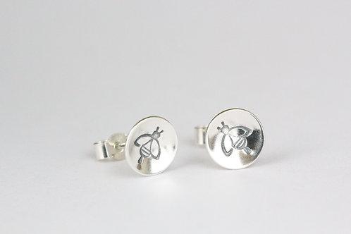 Sterling silver bee stud earrings