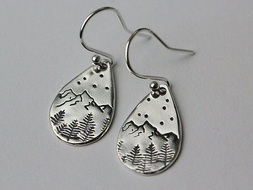 Sterling silver mountain scene earrings