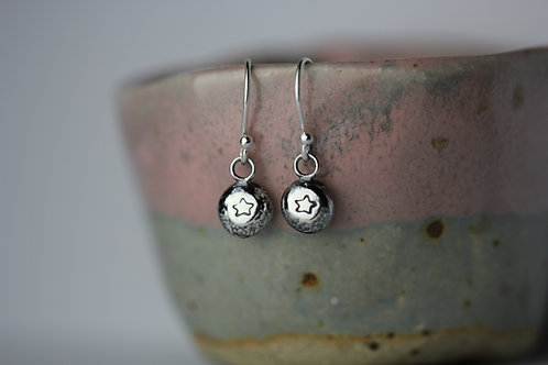 Sterling silver pebble earrings - star design
