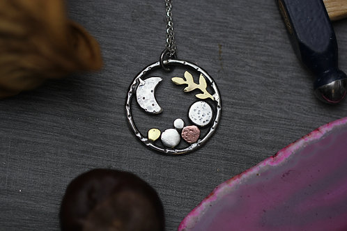 Midnight Rockpool Necklace - Sterling Silver, Copper and Brass
